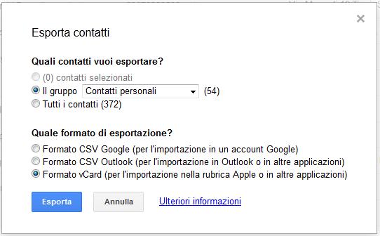 Come trasferire i contatti da Android a iPhone e viceversa contatti gmail 3 03072012