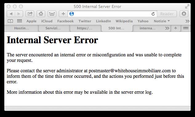 ERROR 500 – INTERNAL SERVER ERROR - WordPress
